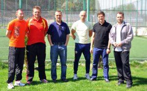 Profesorii, de la sînga la dreapta: Gheorghe Fetean, Romulus Boar, Radu Vas, Sergiu Marian și Ilie Lazăr