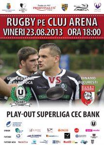 U Cluj Rugby - afis meci u cluj dinamo 23 august - v1 - 19082013