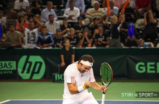 Florin Mergea, într-un meci de Cupa Davis, la Cluj. Foto: Daniel Rus (stiridesport.ro)