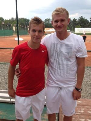 Patrick Ciorcilă, alături de antrenorul Bogdan Nițescu, în iunie 2013, la Cluj, cînd clujeanul a ajuns în semifinale