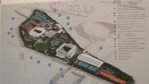 O schemă a complexului Melbourne Park. În jumătatea dreaptă, terenurile federației
