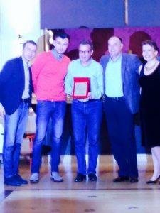 De la stinga la dreapta : Dan Stroescu,de la Xerox Responsabil cu XPPS , Cristi Berea de la Xerox resp pe Transilvania, Doru Abrudan , Gabi Pantelimon GM Xerox România si Francisca Lebrun șef peste partenerii Xerox