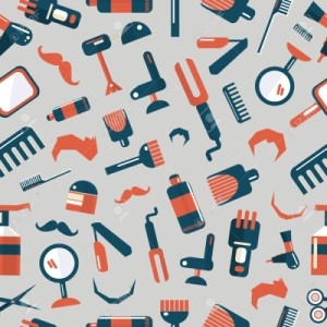 Barber shop seamless pattern on a gray background
