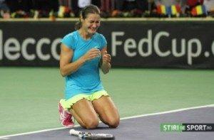 Monica Niculescu (momentul victoriei de la Cluj în fața Kvitovei). Foto. Daniel Rus